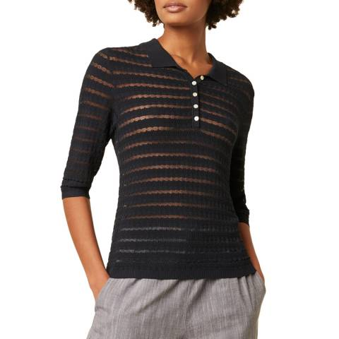 Great Plains Navy Stripe Detailed Knit Top