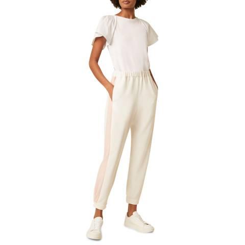 Great Plains White Stripe Detailed Cotton Linen Blend Trouser