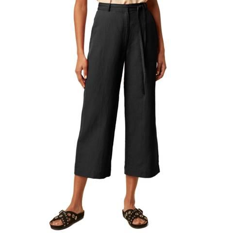 Great Plains Black Belted Wide Leg Cotton Linen Blend Trouser