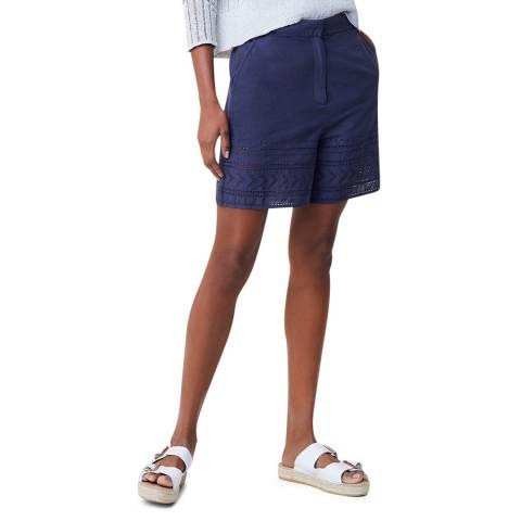 Great Plains Dark Blue Patterned Cotton Shorts