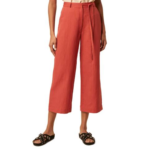Great Plains Red Belted Wide Leg Cotton Trouser