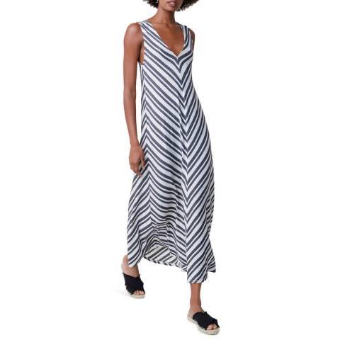 Great Plains Multi Stripe V Neck Cotton Blend Dress