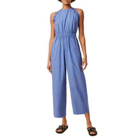 Great Plains Blue High Neck Cotton Linen Blend Jumpsuit