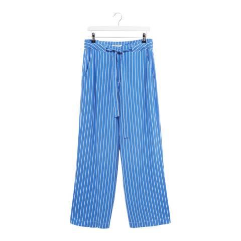 Great Plains Blue Stripe Tie Waist Cotton Blend Trouser