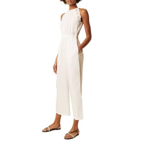 Great Plains White High Neck Cotton Linen Blend Jumpsuit