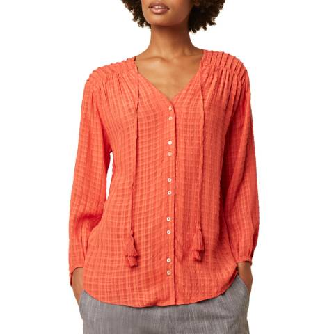 Great Plains Paprika Tie Neck Blouse