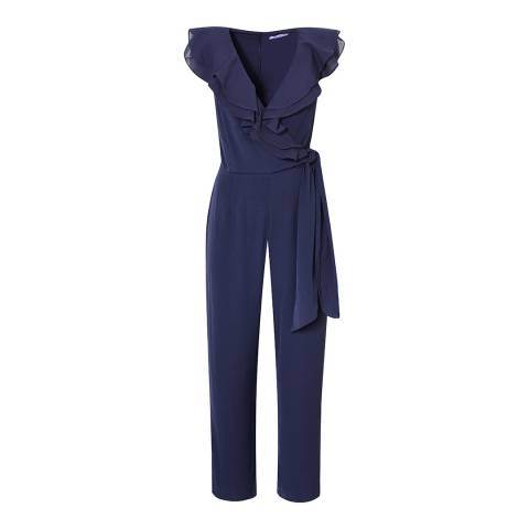Great Plains Navy Ruffle Neckline Jumpsuit