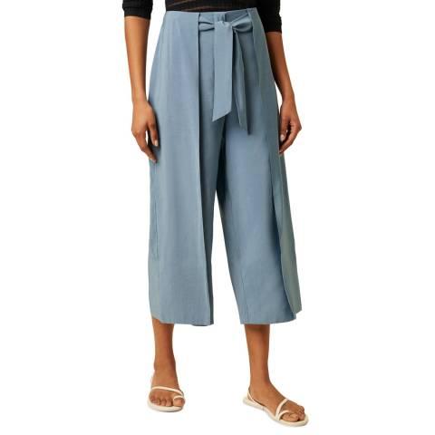 Great Plains Blue Culotte Tie Wasit Trouser