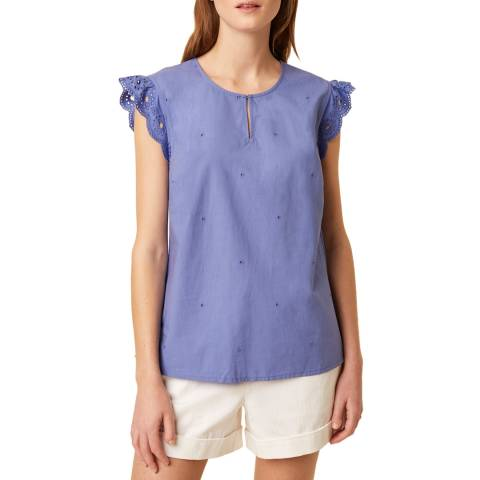 Great Plains Blue Ruffle Sleeve Detailed Cotton Top