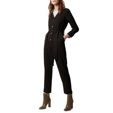 Great Plains Black Tie Waist Long Sleeve Jumpsuit