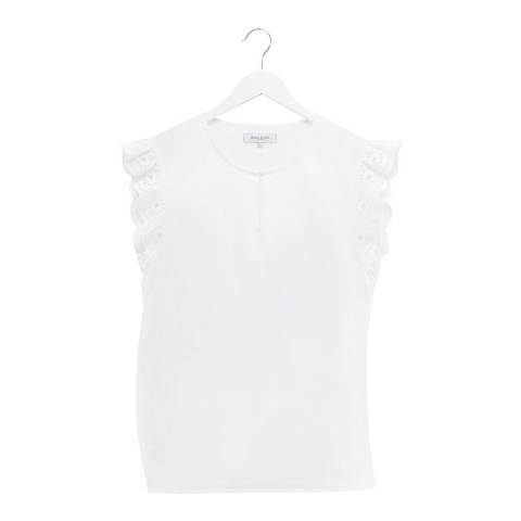 Great Plains White Sleeve Detail Cotton T-Shirt