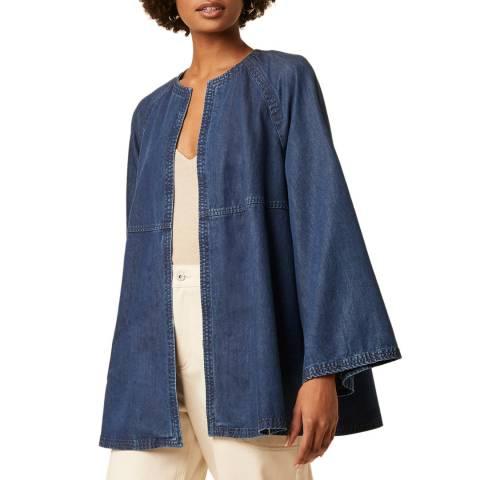 Great Plains Blue Round Neck Cotton Blend Jacket