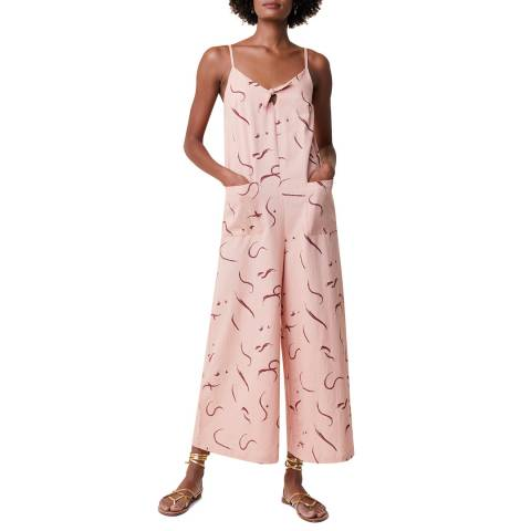Great Plains Pink Wide Leg Cotton Linen Blend Jumpsuit