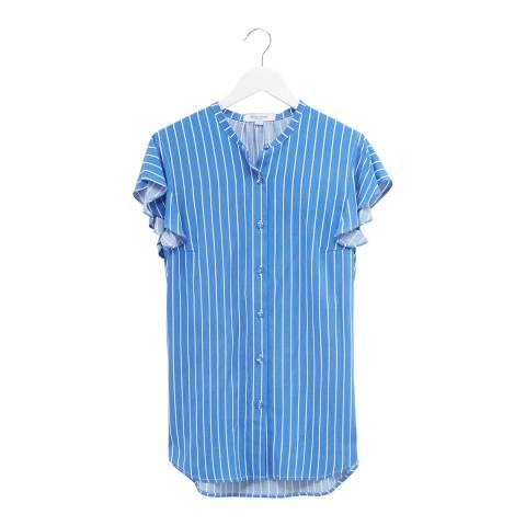 Great Plains Blue Stripe Ruffle Sleeve Cotton Blouse