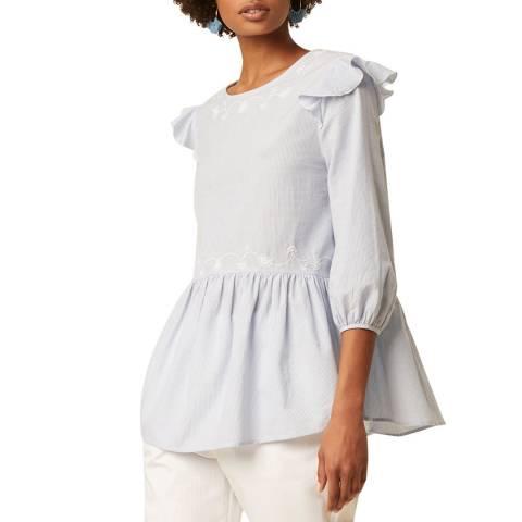 Great Plains Pale Blue Blouson Sleeve Cotton Blouse
