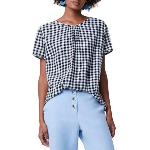 Great Plains Black/ White Check Cotton Blend Top