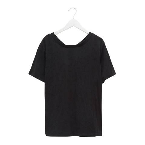 Great Plains Black Round Neck Cotton Blend T-Shirt