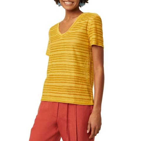 Great Plains Yellow V Neck Cotton Stripe T-Shirt