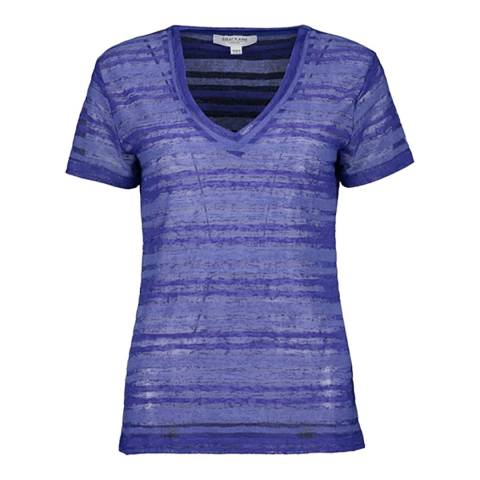 Great Plains Blue V Neck Stripe T-Shirt