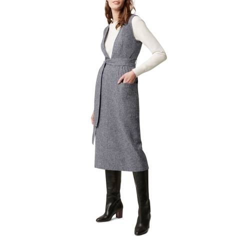 Great Plains Navy Tweed Open Front Cotton Linen Blend Dress
