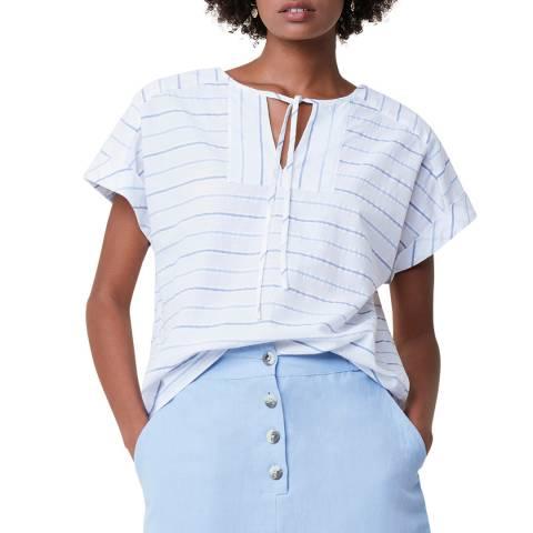 Great Plains Multi Stripe Tie Neck Cotton Top