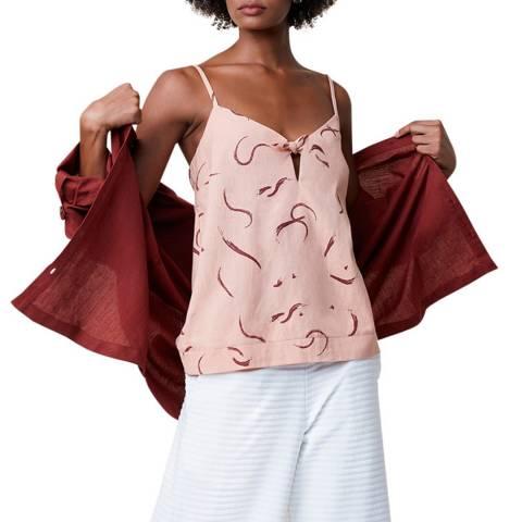 Great Plains Multi Pink Tie Front Cotton Blend Linen Blend Top