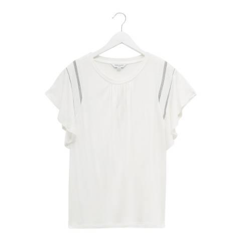 Great Plains White Ruffle Sleeve T-Shirt