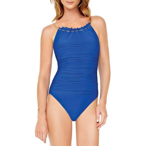 Gottex Blue Gold Standard Round Neck Swimsuit