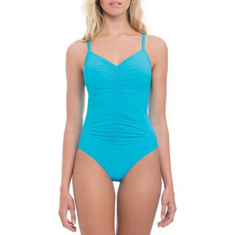 Profile By Gottex Blue Swan Lake Shirred One-Piece Swimsuit