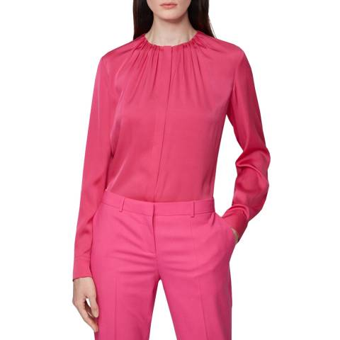 BOSS Pink Silk Blend Banora Blouse