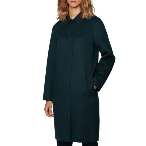 BOSS Dark Green Cellea Wool Blend Coat