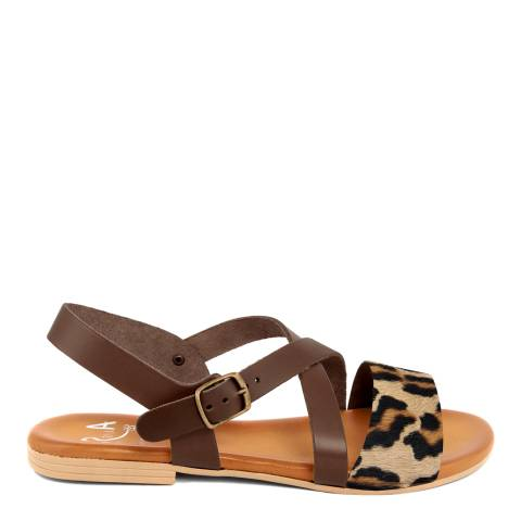 Alissa Shoes Leopard Leather Flat Sandal
