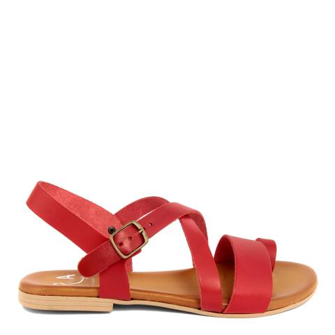 Alissa Shoes Red Crossed Strap Flat Sandal