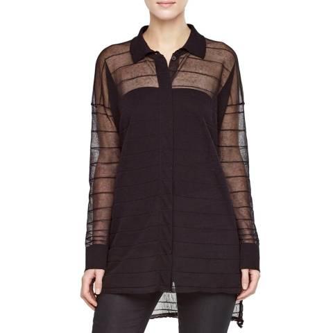 SARAH PACINI Black Cotton Polo Collar Cardigan