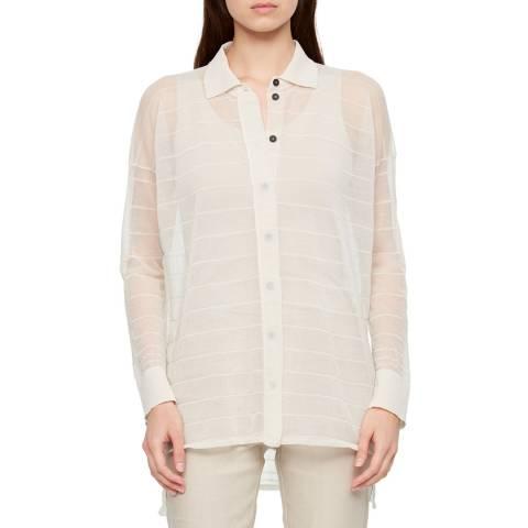 SARAH PACINI White Cotton Polo Collar Cardigan