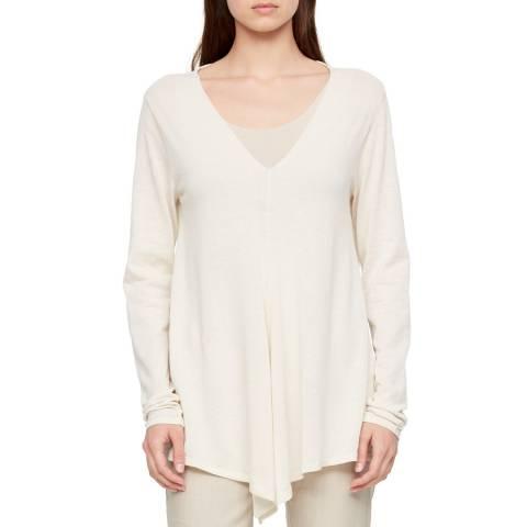 SARAH PACINI White V Neck Cotton Sweater