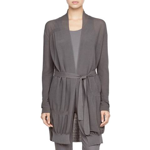 SARAH PACINI Grey Tie Waist Cotton Cardigan