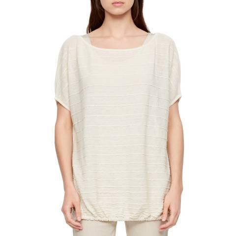 SARAH PACINI White Striped Round Neck Linen T-Shirt