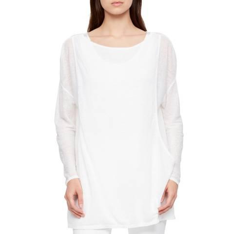 SARAH PACINI White Long Sleeved Linen Top