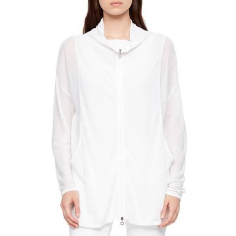 SARAH PACINI White Zip Up Linen Cardigan