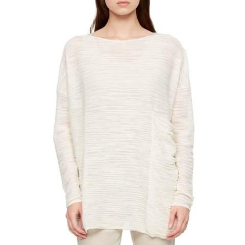 SARAH PACINI White Oversized Pocket Linen Top
