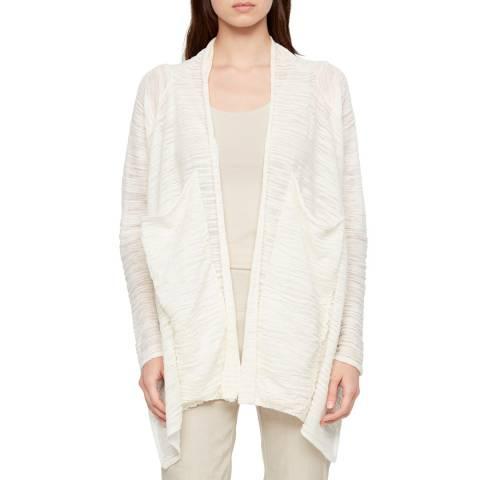 SARAH PACINI White Patch Pocket Linen Cardigan