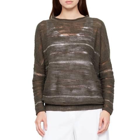 SARAH PACINI Khaki Asymmetrical Line Linen Sweater