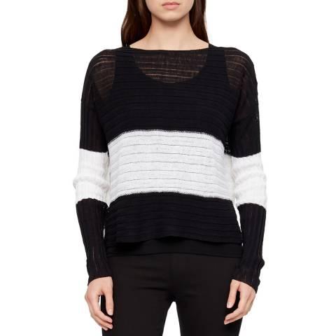 SARAH PACINI Black/White Contrast Linen Top