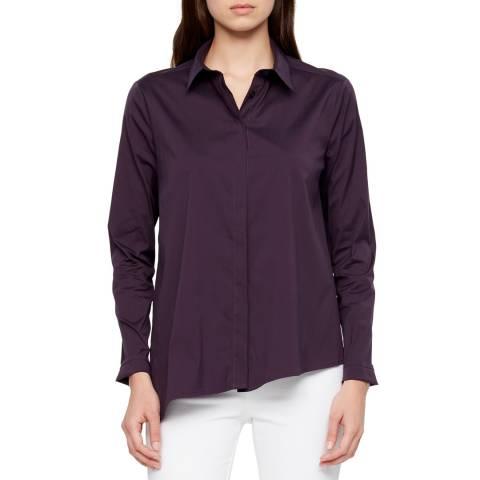 SARAH PACINI Dark Purple Poplin Cotton Shirt
