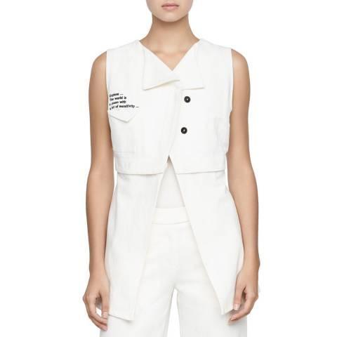 SARAH PACINI White Button Panel Cotton/Linen Jacket