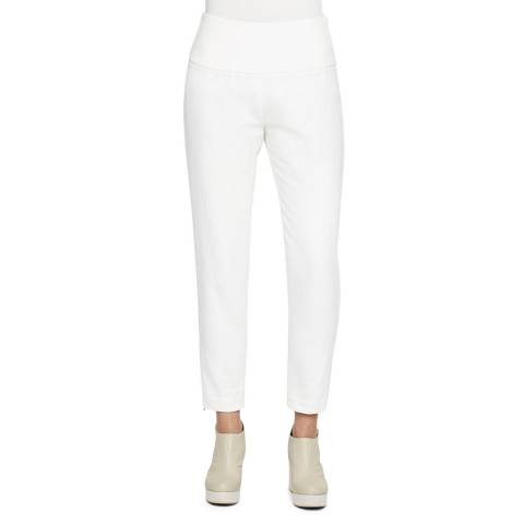 SARAH PACINI White Cotton/Linen Ankle Trousers