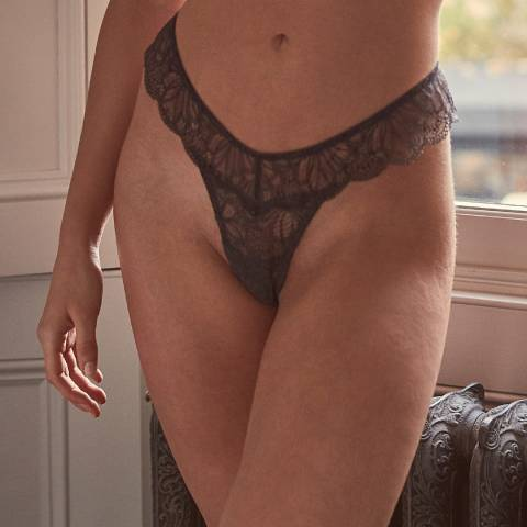 Wolf & Whistle Steel Grey Ariana Everyday Lace Thong