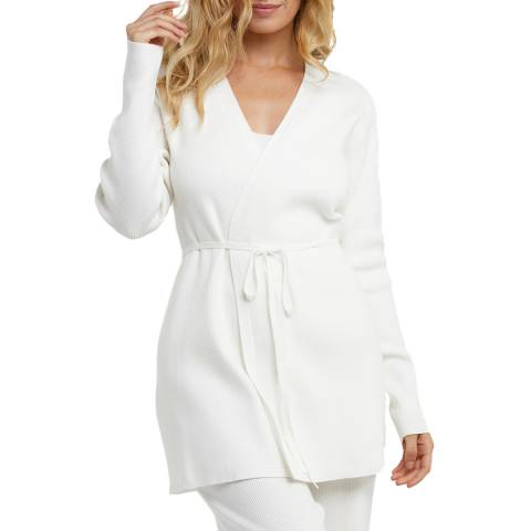 Wolf & Whistle Ivory Super Soft Knitted Rib Long Cardigan