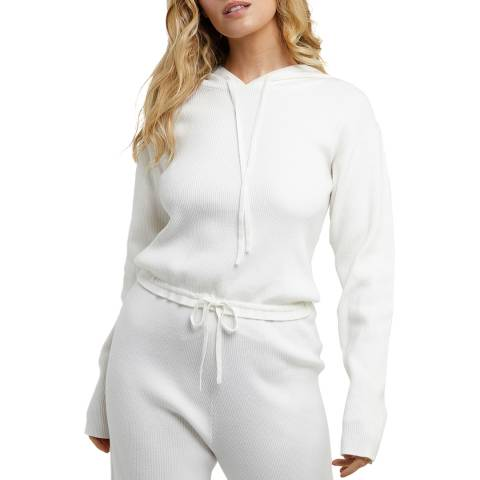 Wolf & Whistle Ivory Super Soft Knitted Rib Cropped Hoodie